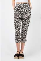 Select Fashion Fashion Womens Black Poppy Floral Crop Soft Trouser - size 6