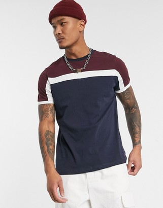 ASOS DESIGN t-shirt with color block in navy