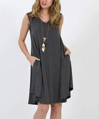 Lydiane Women's Casual Dresses CHARCOAL - Charcoal V-Neck Sleeveless Curved-Hem Pocket Shift Dress - Women & Plus