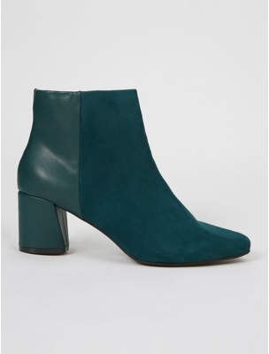 George Dark Green Suede Effect Panel Ankle Boots