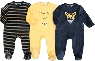 La Redoute Collections Pack of 3 Velour Sleepsuits with Dog Print, Birth-3 Years