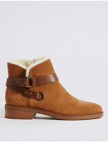 M&S Collection Suede Block Heel Fur Biker Ankle Boots