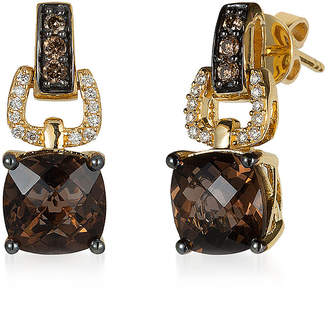 LeVian CORP LIMITED QUANTITIES! Le Vian Grand Sample Sale Earrings featuring Chocolate Quartz, Chocolate Diamonds, Vanilla Diamonds set in 14K Honey Gold