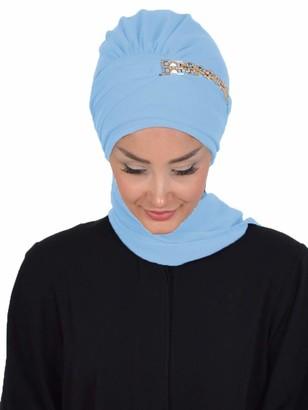 Aisha's Design Instant Turban Lightweight Chiffon Scarf Head Turbans For Women Headwear - Blue - One Size