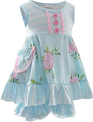 Adorable Sweetness Girls' Casual Shorts Lt. - Light Blue & Pink Floral Stripe Button Ruffle Tunic & Shorts - Girls