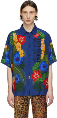 Versace Blue Floral Short Sleeve Shirt