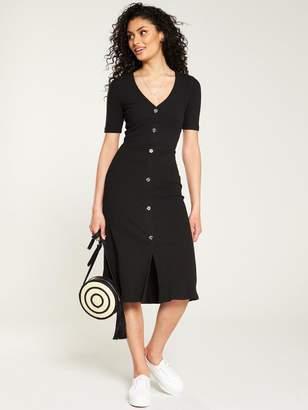 Very Horn Button Rib Midi Dress - Black