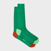 Paul Smith Men's Green Odd Socks With Contrasting Heel And Toe