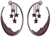 Lydia Courteille Ruby sapphire 18k gold star and moon hoop earrings