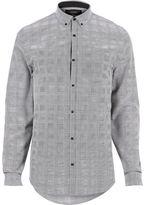 River Island Mens Grey smart check flannel slim fit shirt