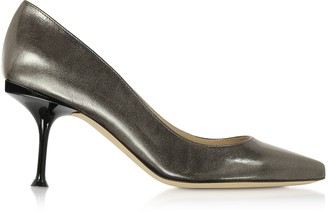 Sergio Rossi Glacee Anthracite Metallic Leather Pumps