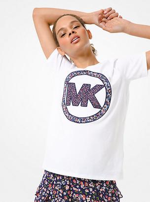 Michael Kors Floral Logo Cotton-Jersey T-Shirt