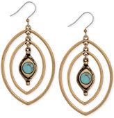 Lucky Brand Gold-Tone Turquoise-Look Stone Triple Hoop Earrings