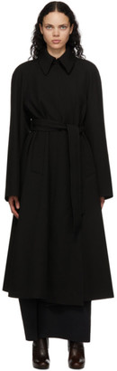 Lemaire Black Wool Trench Coat
