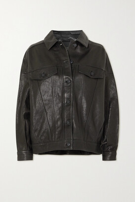 J BRAND - Drew Oversized Leather Jacket - Black