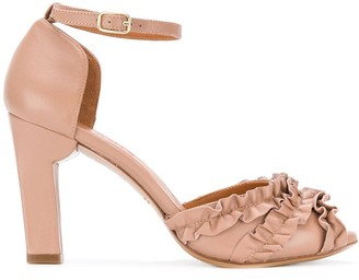 Chie Mihara Ruffle Panel Heeled Sandals