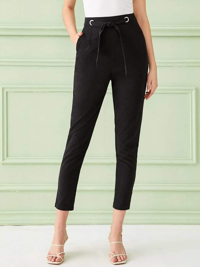 Shein Solid Tie Front Zip Back Carrot Pants