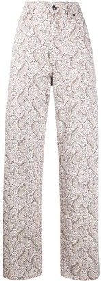 Etro High-Waisted Paisley Print Jeans