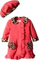 Bonnie Baby Baby-Girls Infant Side Ruffle with Leopard Trim Fleece Coat and Hat Set
