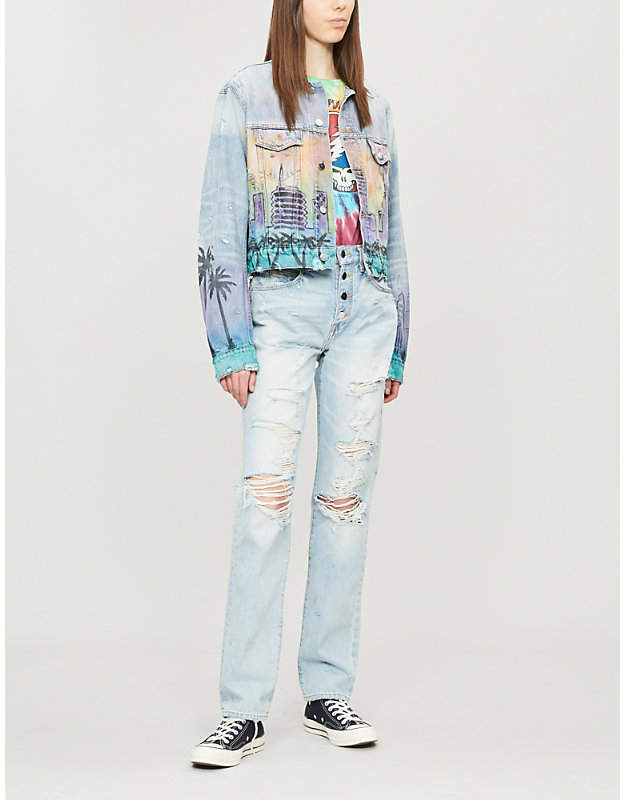 Amiri Hollywood-print denim jacket