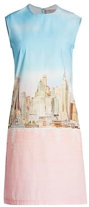 Lela Rose NYC Skyline Cotton Poplin Shift Dress