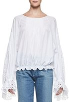 Chloé Pineapple-Embroidered Cotton Blouse, White