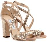 Jimmy Choo Carrie 100 glitter-embellished leather sandals