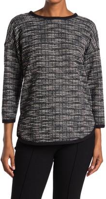 Max Studio Knit Tweed Drop Shoulder Top