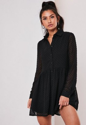 Missguided Black Dobby Smock Shirt Dress