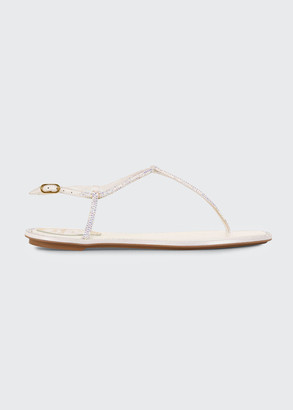 Rene Caovilla Shimmery Ankle-Strap Flat Thong Sandals