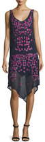 Haute Hippie Floral Threadwork Embellished Silk Dress, Midnight