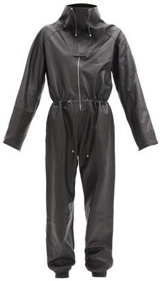Dodo Bar Or Piki High-neck Leather Jumpsuit - Black