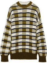 Joseph Oversized Checked Chunky-knit Sweater - Army green
