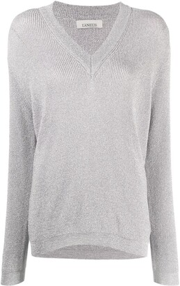 Laneus Metallic-Thread Cotton Jumper