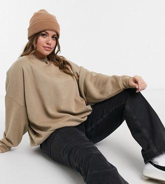 ASOS DESIGN Curve oversized cosy cocoon sweatshirt in brown