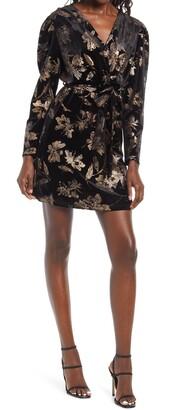 Fraiche by J Floral Print Long Sleeve Faux Wrap Minidress