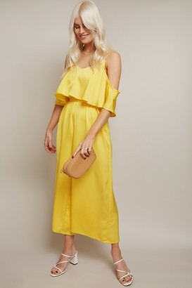 Girls On Film Kassie Yellow Satin Cold-Shoulder Culotte Jumpsuit