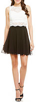 Jodi Kristopher Two-Piece Glitter Lace to Chiffon Dress