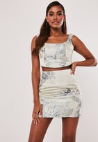 Missguided Light Grey Co Ord Floral Jacquard Bralet