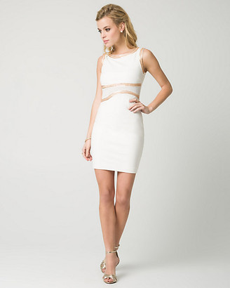 Le Château Double Knit Beaded Halter Neck Mini Dress