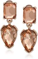 """Kenneth Cole New York Stone Cluster Gold"""" Faceted Stone Double Drop Earrings"""