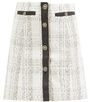 Salvatore Ferragamo Leather-trim Checked Cotton-blend Boucle Skirt - White Black