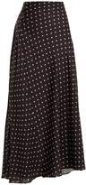 Haider Ackermann Gathered-detail polka-dot print satin maxi skirt