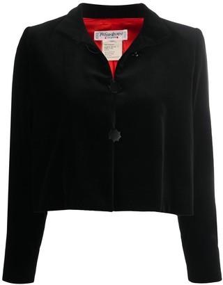 Yves Saint Laurent Pre Owned Velvet Effect Stand-Up Collar Jacket