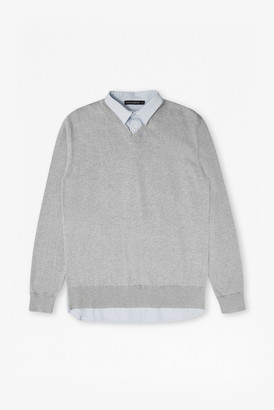 French Connection Shirt Knit Hybrid Sweater