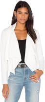 Bobi Knit Boucle Long Sleeve Front Draped Blazer