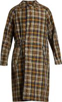 Kolor Checked crinkle-noil trench coat