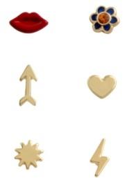 Betsey Johnson Lips Single Stud Earrings Set