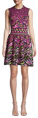 M Missoni Leopard Knit Flare Dress