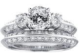 JCPenney FINE JEWELRY DiamonArt Cubic Zirconia Sterling Silver 3-Stone Bridal Ring Set